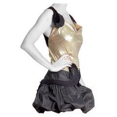 2000S ROBERTO CAVALLI Black & Gold Rayon/Lurex Lamé Pleated Mini Bubble Skirt C