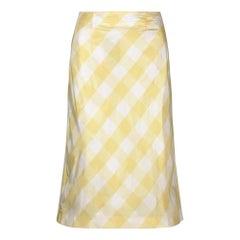 1990s Karl Lagerfeld for Chloe Yellow Gingham Check Silk Skirt