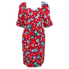 1990s Karl Lagerfeld Red Silk Floral Dress