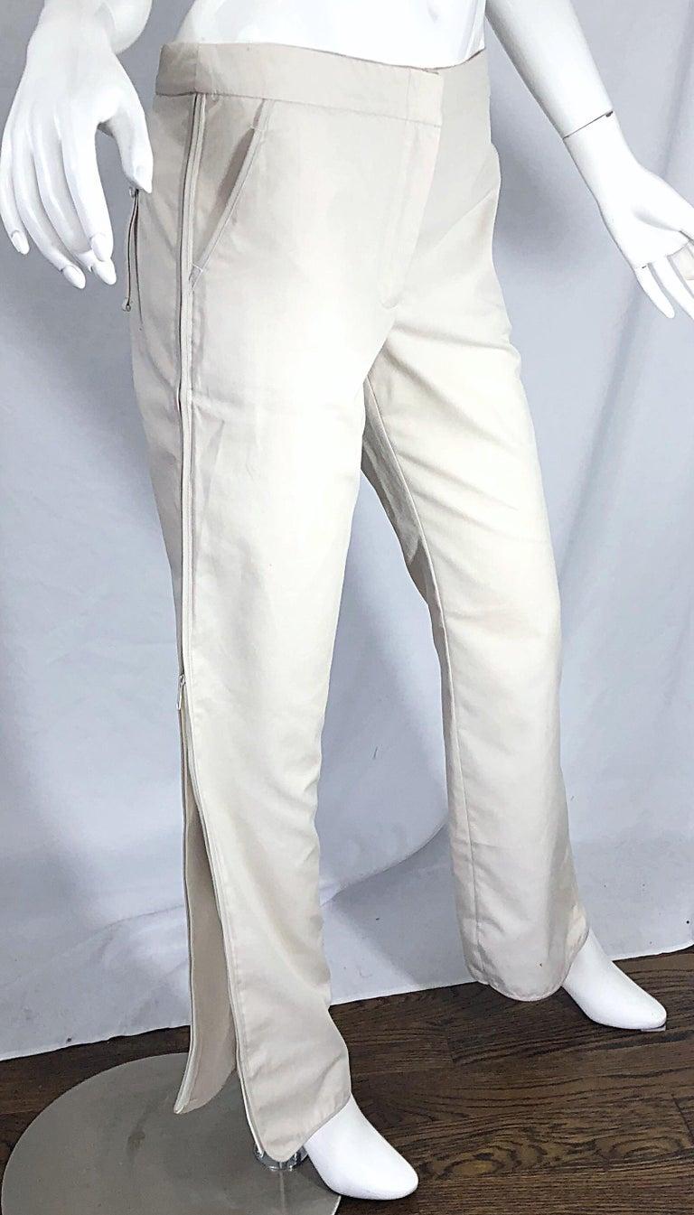 1990s Katayone Adeli Size 6 Zipper Leg Low Rise Stone Khaki Trousers Pants  For Sale 5
