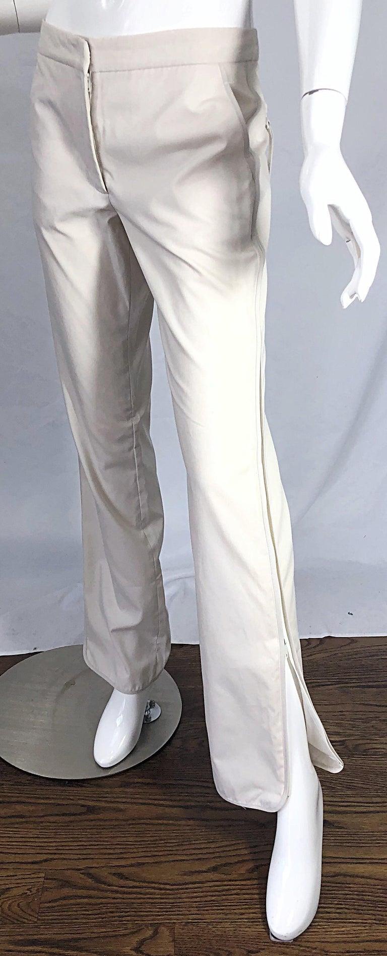 1990s Katayone Adeli Size 6 Zipper Leg Low Rise Stone Khaki Trousers Pants  For Sale 6