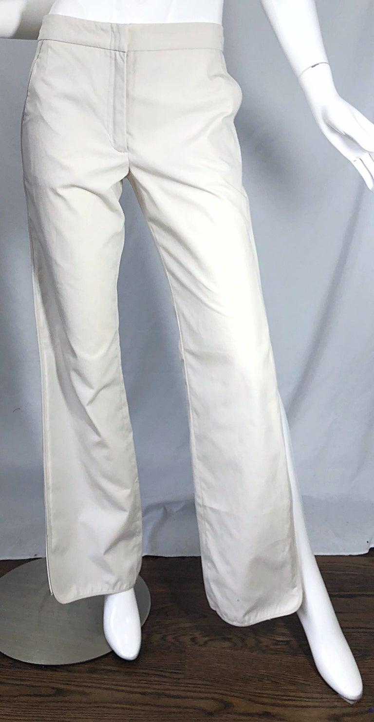 1990s Katayone Adeli Size 6 Zipper Leg Low Rise Stone Khaki Trousers Pants  For Sale 7