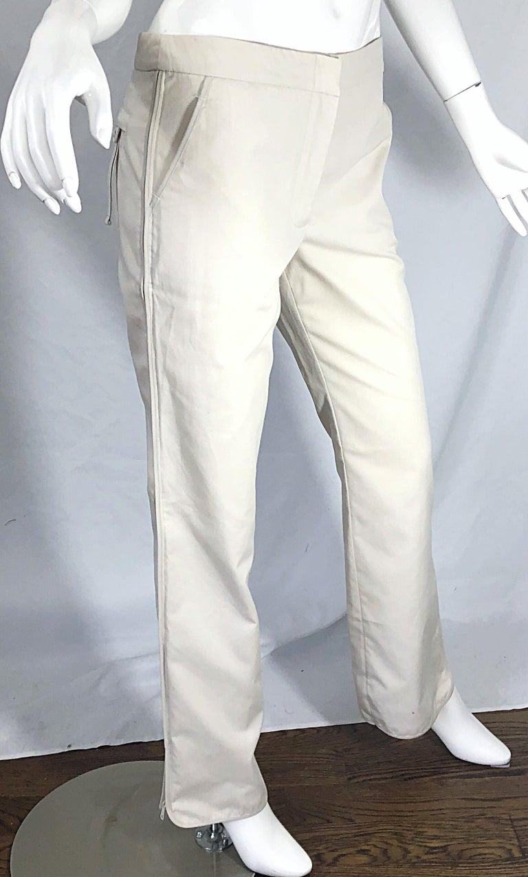 1990s Katayone Adeli Size 6 Zipper Leg Low Rise Stone Khaki Trousers Pants  For Sale 8