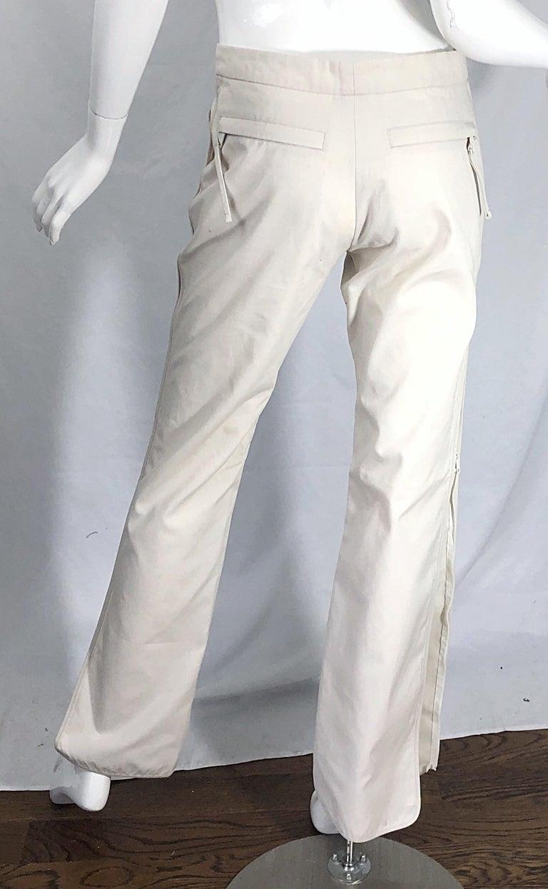 1990s Katayone Adeli Size 6 Zipper Leg Low Rise Stone Khaki Trousers Pants  For Sale 9