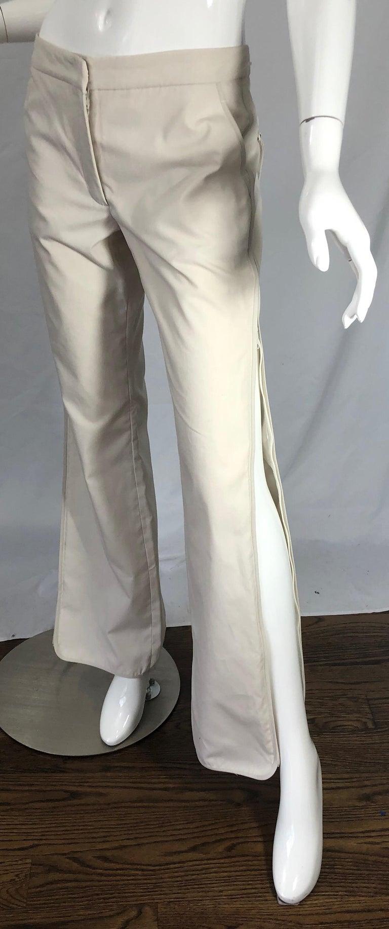 1990s Katayone Adeli Size 6 Zipper Leg Low Rise Stone Khaki Trousers Pants  For Sale 10
