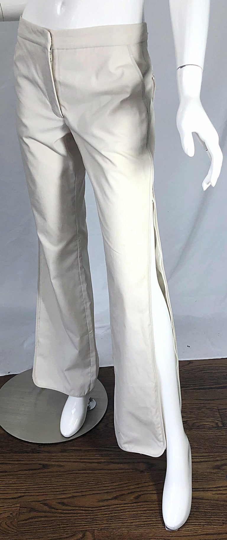 Late 90s KATAYONE ADELI low rise cotton trousers ! Slim fit with zippers up each outter leg all the way from the waistband to the hem. Hook-and-eye closure at waist with additional inner button closure. Pockets at each side of the waist and on the