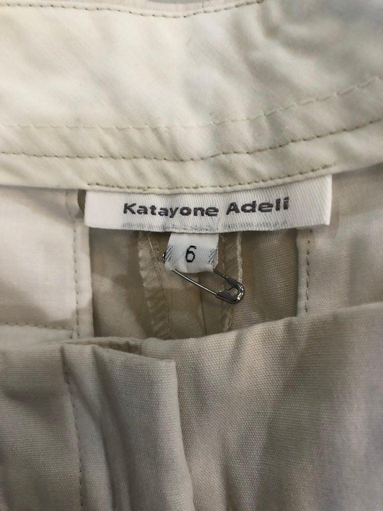 Gray 1990s Katayone Adeli Size 6 Zipper Leg Low Rise Stone Khaki Trousers Pants  For Sale