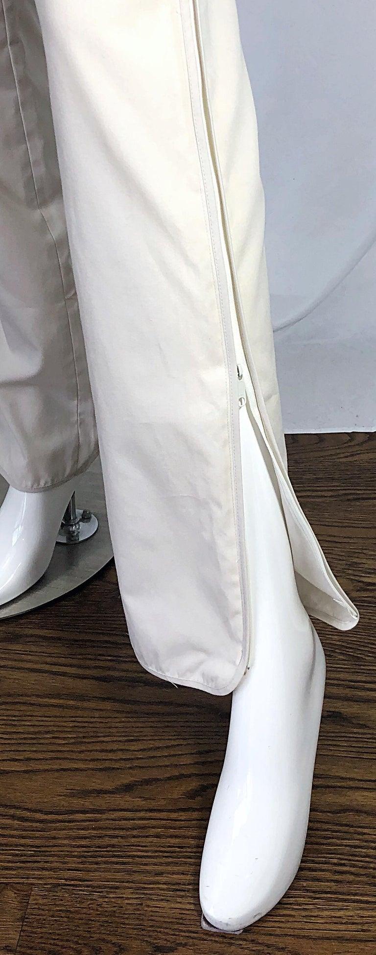 Women's 1990s Katayone Adeli Size 6 Zipper Leg Low Rise Stone Khaki Trousers Pants  For Sale