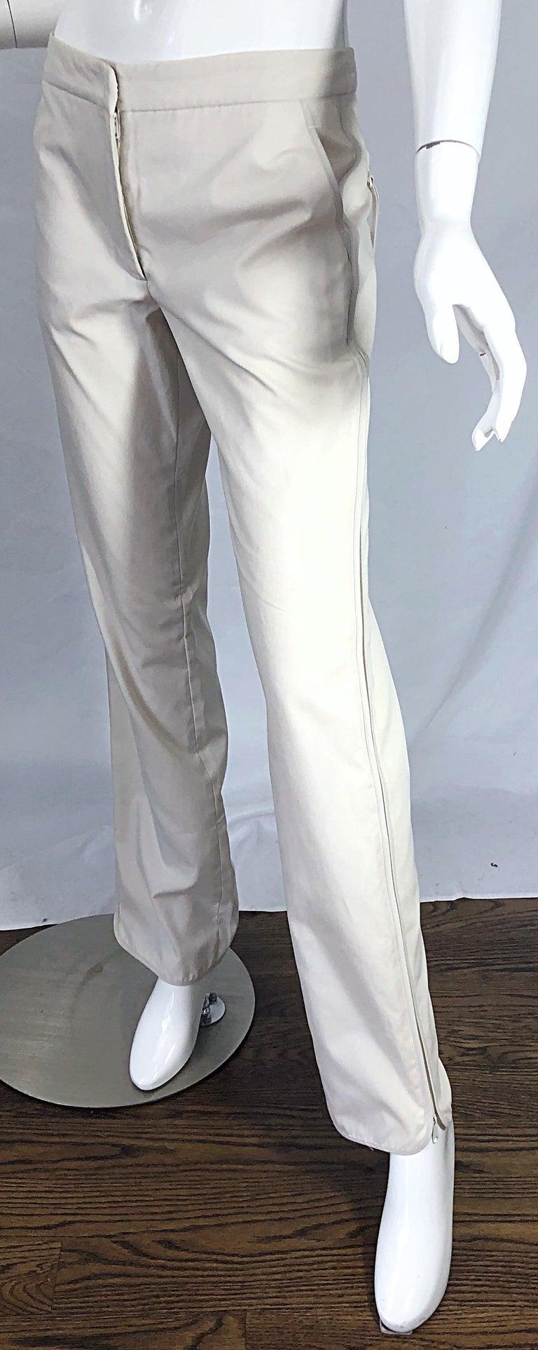 1990s Katayone Adeli Size 6 Zipper Leg Low Rise Stone Khaki Trousers Pants  For Sale 1
