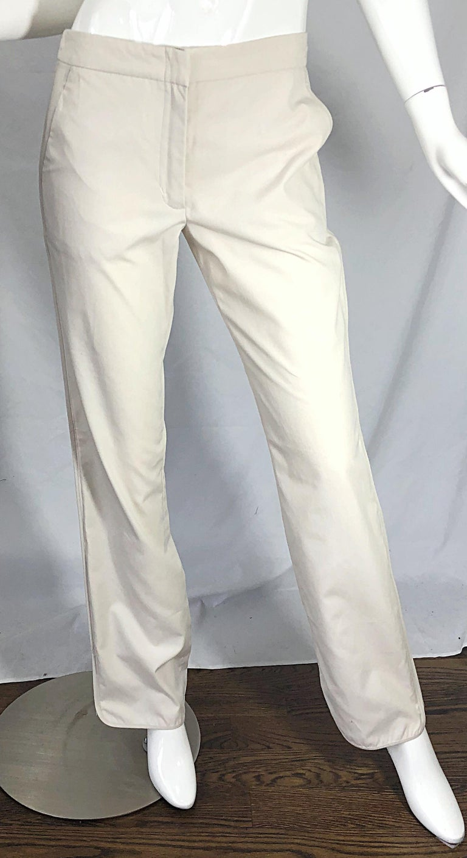 1990s Katayone Adeli Size 6 Zipper Leg Low Rise Stone Khaki Trousers Pants  For Sale 2