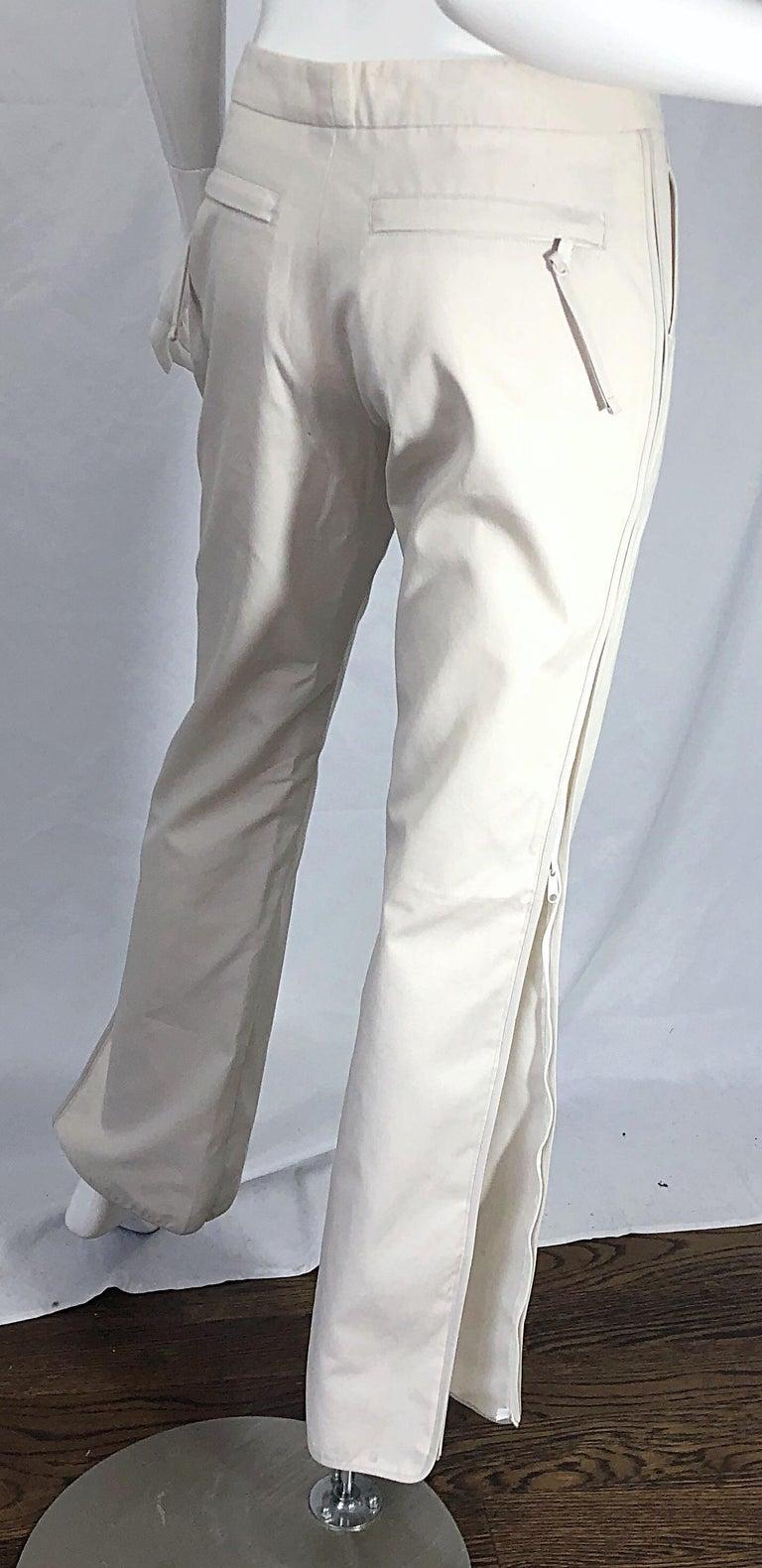 1990s Katayone Adeli Size 6 Zipper Leg Low Rise Stone Khaki Trousers Pants  For Sale 4