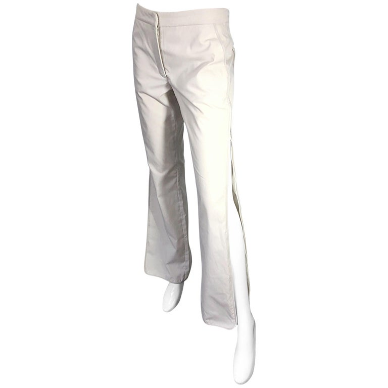 1990s Katayone Adeli Size 6 Zipper Leg Low Rise Stone Khaki Trousers Pants  For Sale