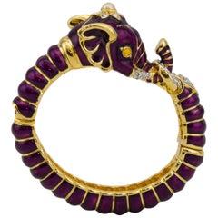 1990s Kenneth Jay Lane Purple Enamel and Rhinestone Elephant Clamper Bracelet
