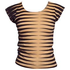 1990S KENZO Black & Beige Cotton Jersey Sleeveless T-Shirt