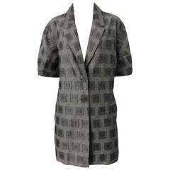 1990s Kenzo Gray Metallic Short Sleeve Size 42 / US 10 Vintage Blazer 90s Jacket
