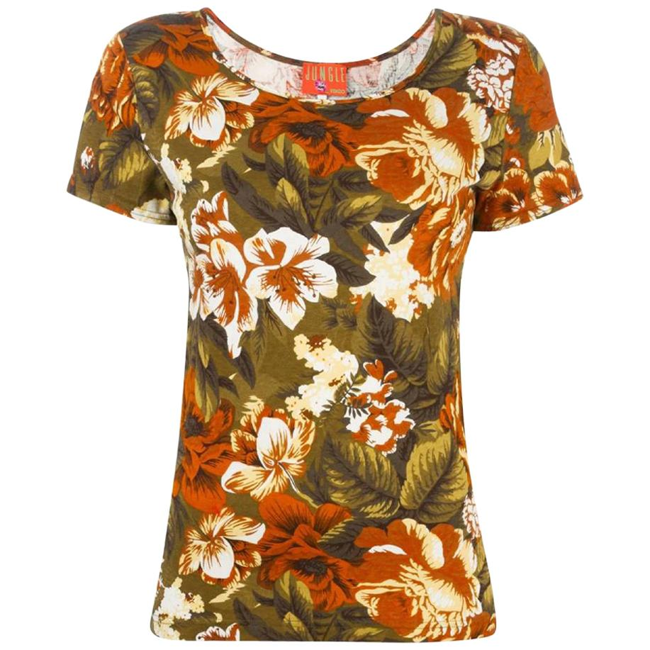 1990s Kenzo Jungle Floral Printed T-shirt