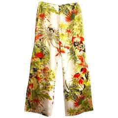 1990s Kenzo wide leg silk floral trousers