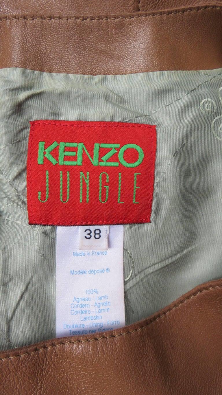 Kenzo New Wrap Leather Top with Cut out Back 1980s For Sale 5
