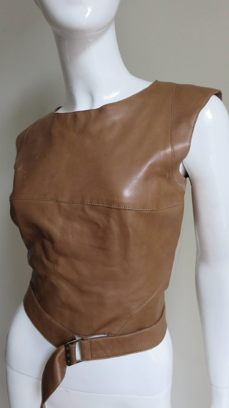 Brown  Kenzo New Wrap Leather Top with Cut out Back 1980s For Sale
