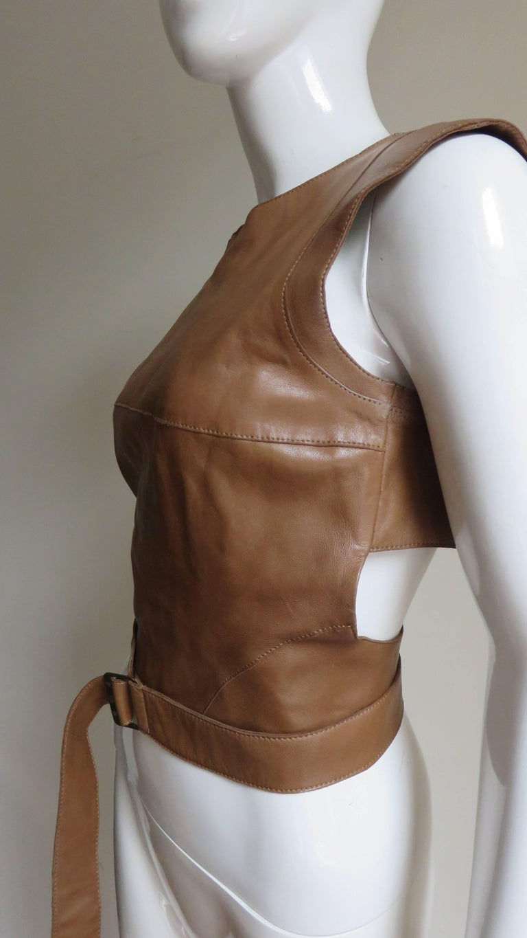 Kenzo New Wrap Leather Top with Cut out Back 1980s In Good Condition For Sale In Water Mill, NY