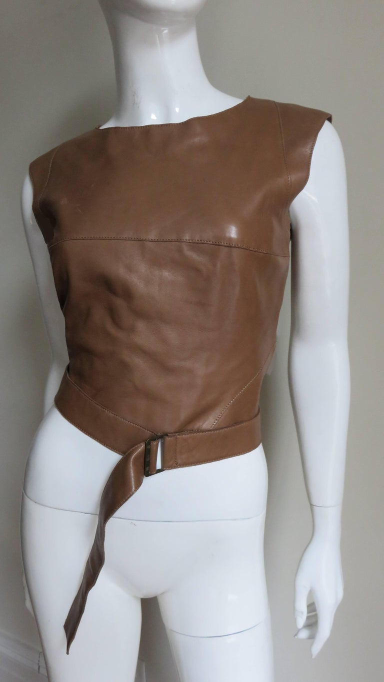 Women's  Kenzo New Wrap Leather Top with Cut out Back 1980s For Sale