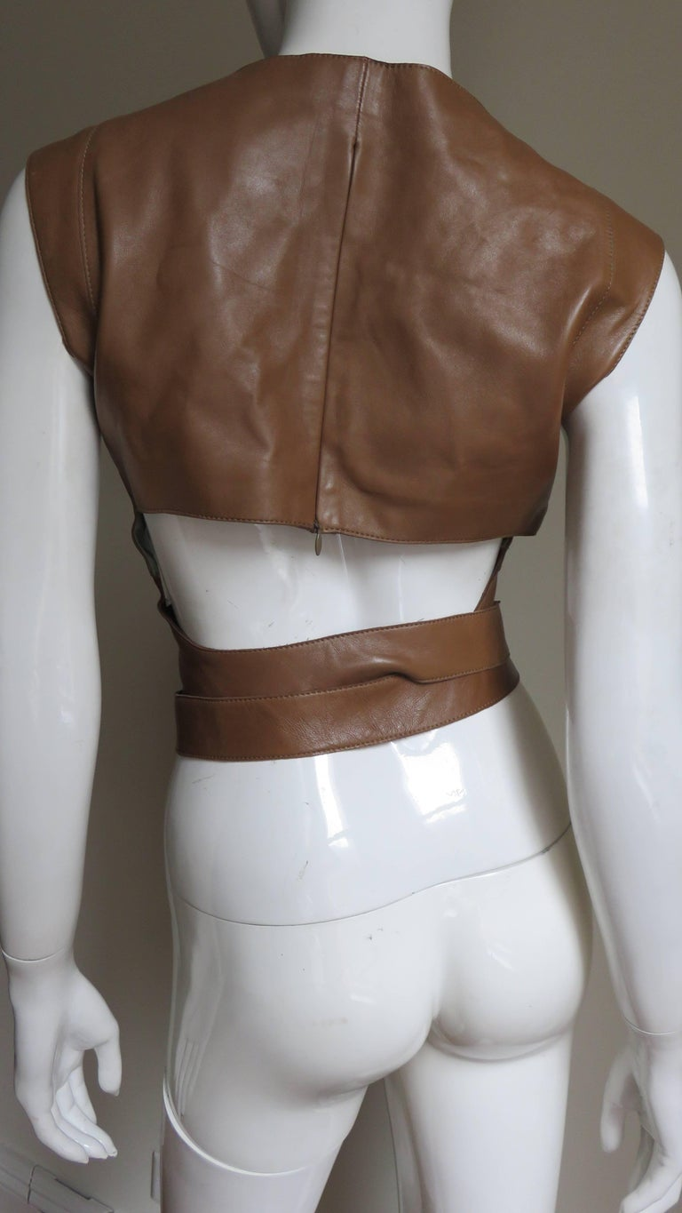 Kenzo New Wrap Leather Top with Cut out Back 1980s For Sale 1