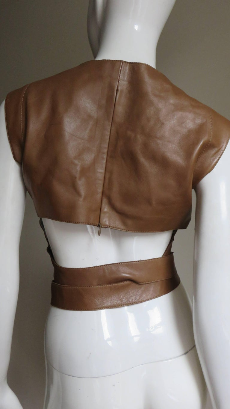 Kenzo New Wrap Leather Top with Cut out Back 1980s For Sale 2