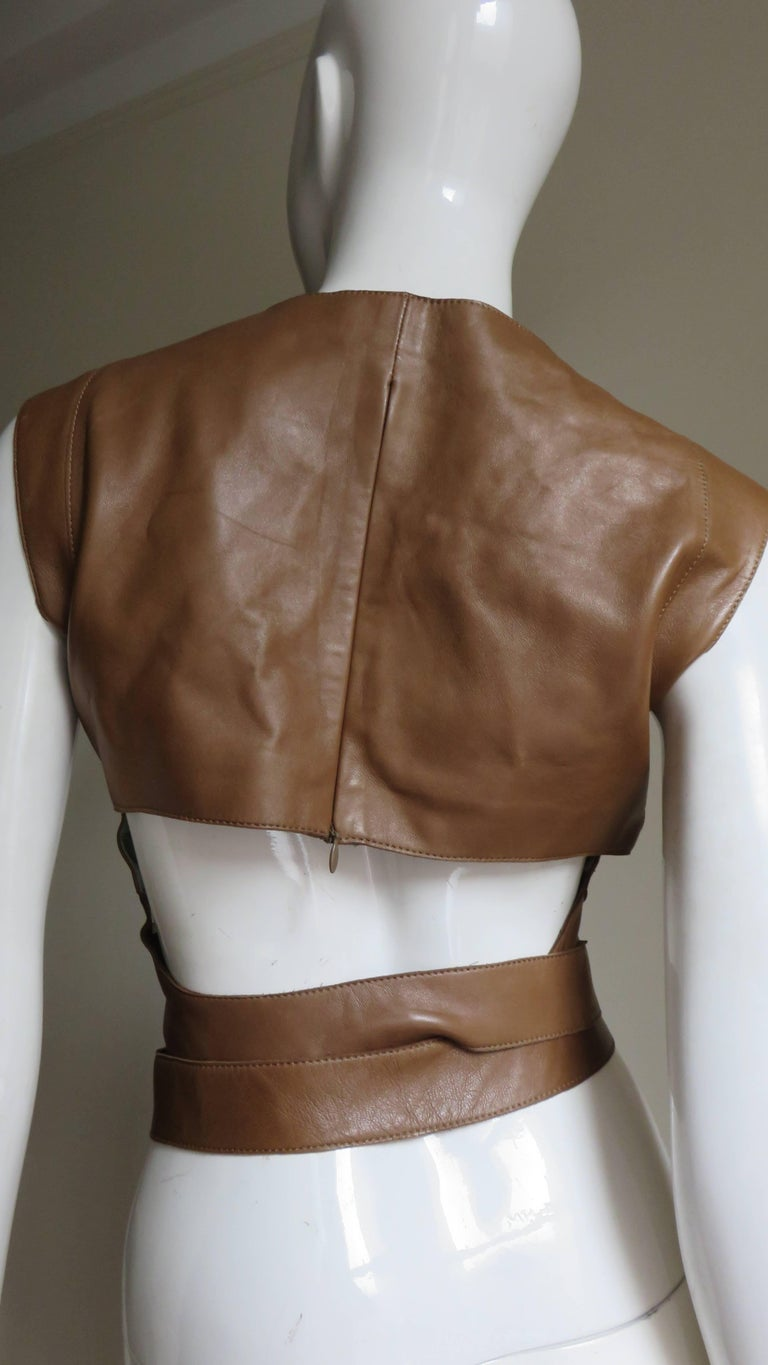 Kenzo New Wrap Leather Top with Cut out Back 1980s For Sale 3