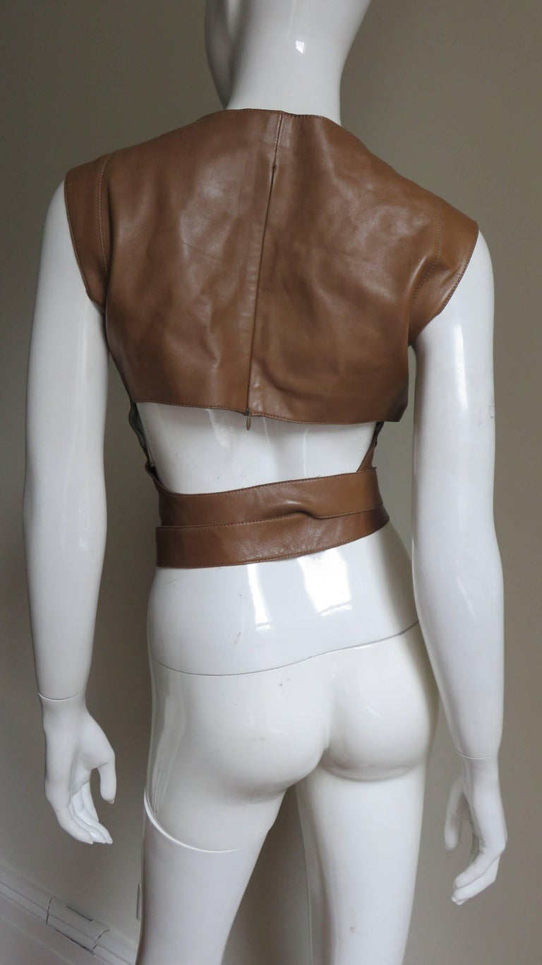 Kenzo New Wrap Leather Top with Cut out Back 1980s For Sale 4