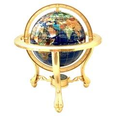 1990s Lapis Lazuli, Gemstone and 24-Karat Gold Gilt Tripod Stand World Globe