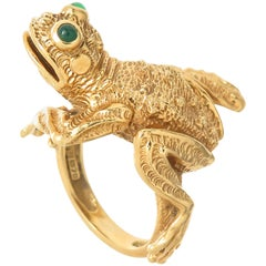 1990s Large Kurt Wayne Whimsical Gem Set Gold Frog Ring