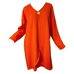 1990s Large Plus Size Burnt Orange Linen Dolman Sleeve Vintage 90s Tunic Dress