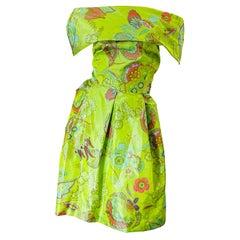 1990s Lee Alexander Couture Size Large Silk Taffeta Off Shoulder Vintage Dress