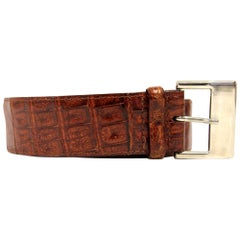 1990s Les Copains Caramel Crocodile Leather Belt