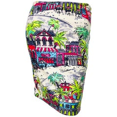 1990s Linda Segal Sequined Novelty Print Neon Tropical Colorful Pencil Skirt