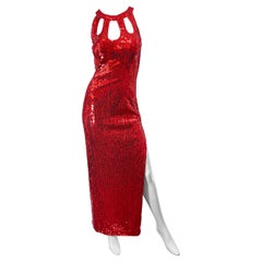 1990s Lipstick Red Sequin Size 10 Sexy Cut Out Vintage 90s Evening Gown Dress