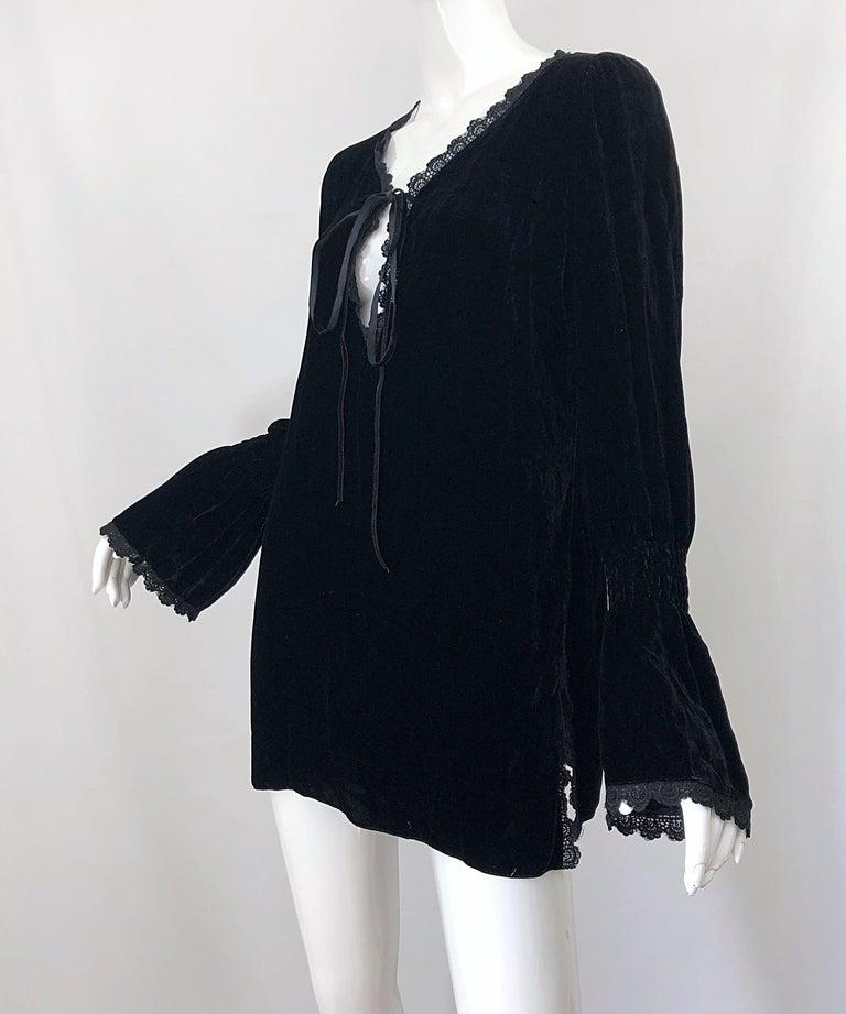 4981316e0fb 1990s Liz Jacobsson Paris Black Silk Velvet Poet Sleeve Tunic Top 90s Mini  Dress For Sale