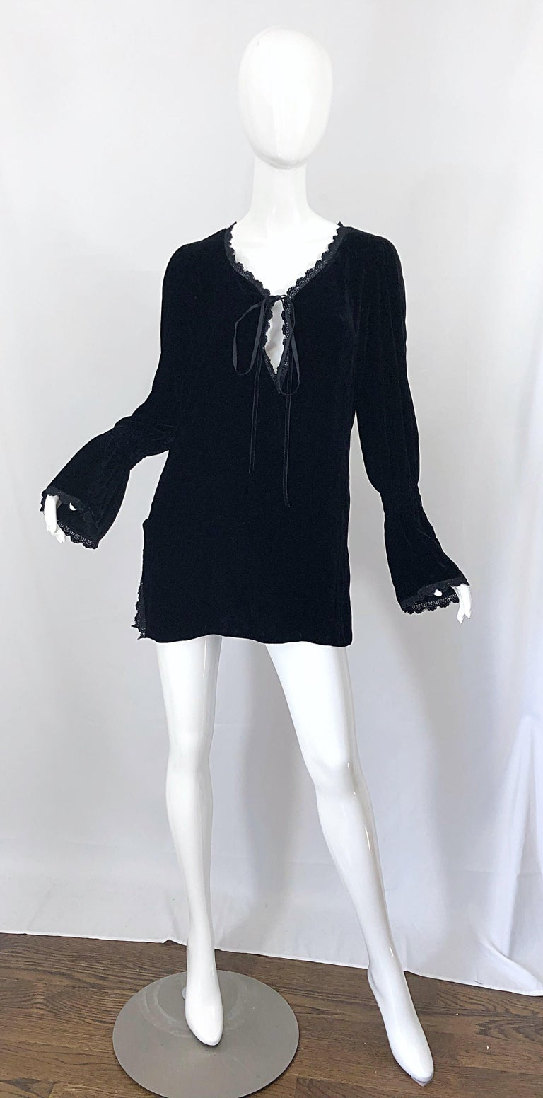 d6d07e32493 ... 90s Mini Dress For Sale. The perfect late 1990s LIZ JACOBSSON Paris  black silk velvet poet sleeve tunic top / mini