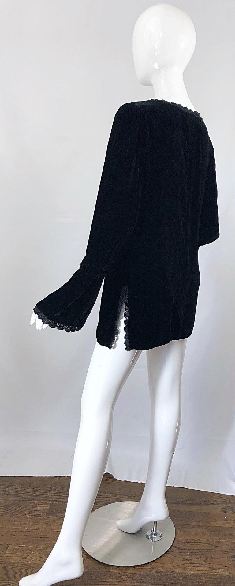 26c35074ec3 Women's 1990s Liz Jacobsson Paris Black Silk Velvet Poet Sleeve Tunic Top  90s Mini Dress For
