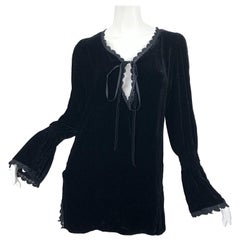 1990s Liz Jacobsson Paris Black Silk Velvet Poet Sleeve Tunic Top 90s Mini Dress