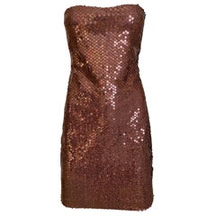 1990s Loris Azzaro Brown Sequin Strapless Cocktail Dress