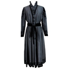 1990s Louis Feraud Black Cerimony Floral Velvet Vintage Long Dress