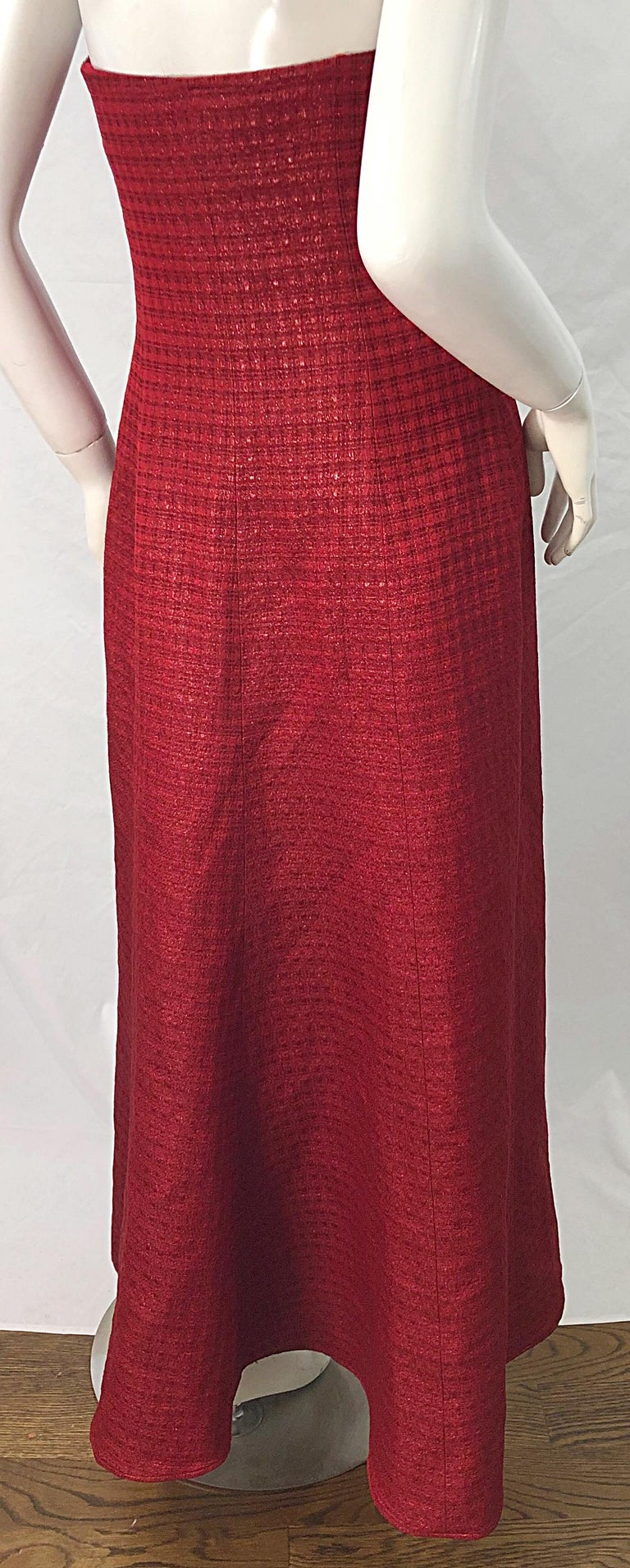 1990s Louis Feraud Cranberry Red Strapless Vintage 90s Silk + Wool Gown Dress For Sale 6