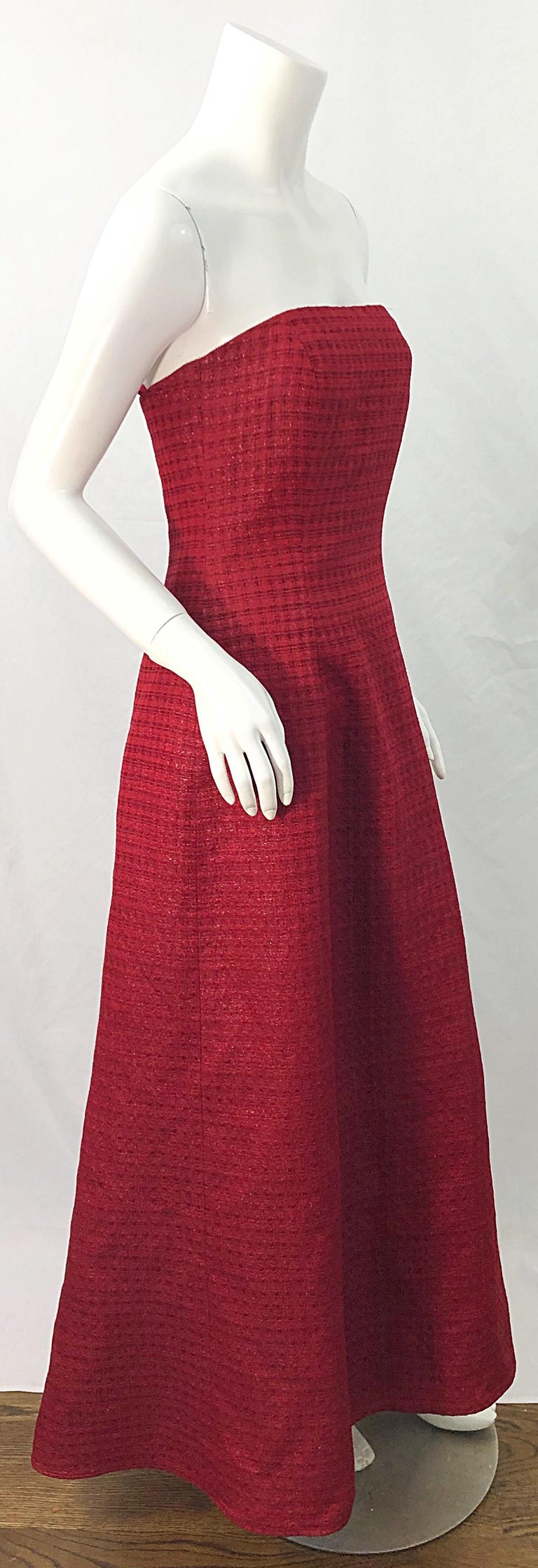 1990s Louis Feraud Cranberry Red Strapless Vintage 90s Silk + Wool Gown Dress For Sale 7