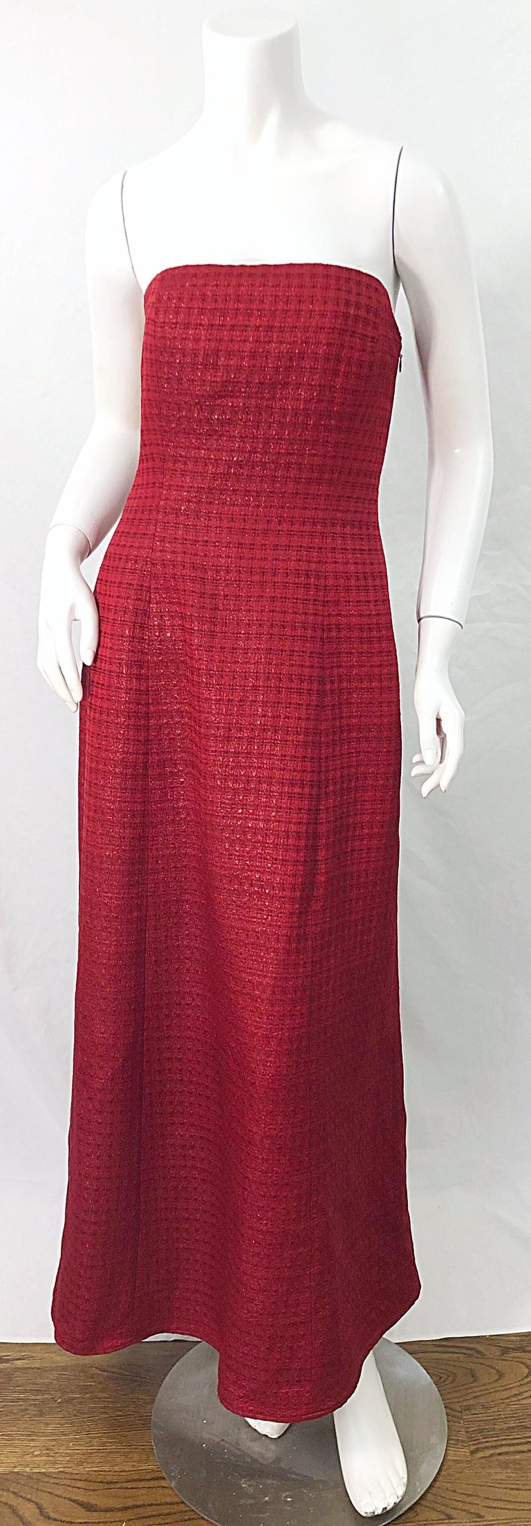 1990s Louis Feraud Cranberry Red Strapless Vintage 90s Silk + Wool Gown Dress For Sale 8