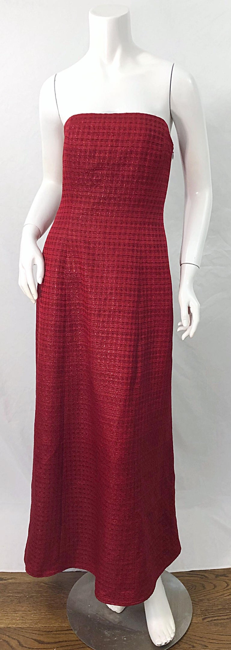 Stunning 1990s LOUIS FERAUD cranberry red silk and wool strapless evening gown ! Features a warm cranberry color with a slightly iridescent woven checkered print. Fully lined. Hidden zipper up the side with hook-and-eye closure. Interior boned