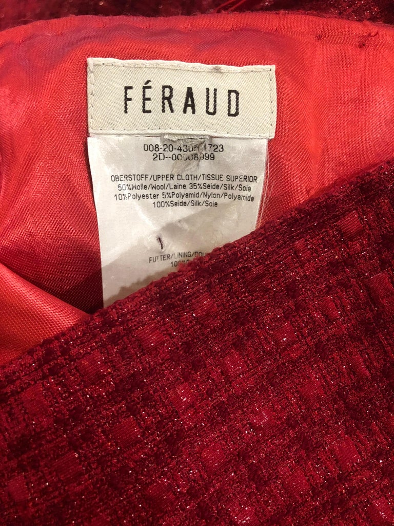 1990s Louis Feraud Cranberry Red Strapless Vintage 90s Silk + Wool Gown Dress In Excellent Condition For Sale In Chicago, IL
