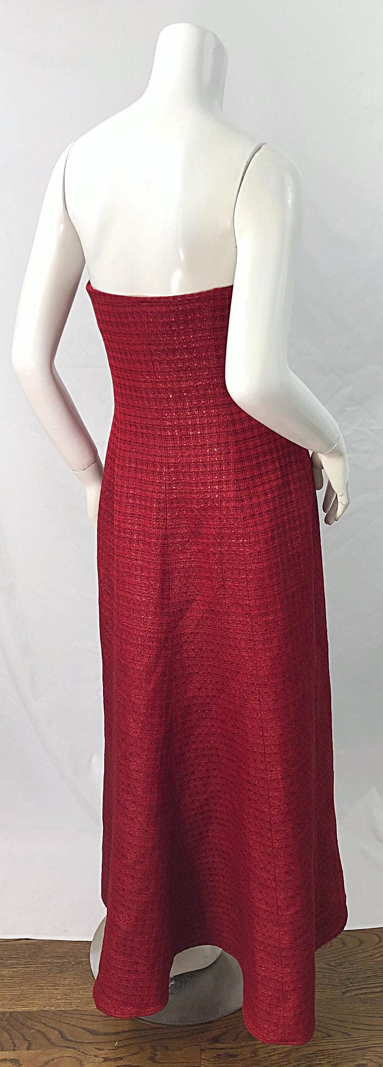 Women's 1990s Louis Feraud Cranberry Red Strapless Vintage 90s Silk + Wool Gown Dress For Sale