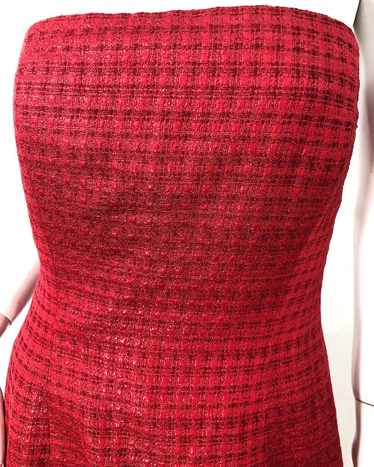 1990s Louis Feraud Cranberry Red Strapless Vintage 90s Silk + Wool Gown Dress For Sale 1