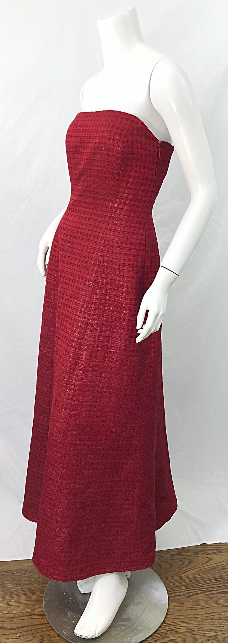 1990s Louis Feraud Cranberry Red Strapless Vintage 90s Silk + Wool Gown Dress For Sale 2